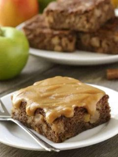 Caramel Apple Cake has a heavenly caramel sauce poured right on top. Sweet, salty, and totally sinful! Gluten-free option included.