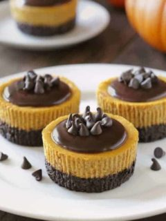 Mini Pumpkin Cheesecakes with Chocolate will bring everyone running to the dessert table. Who can resist pumpkin and chocolate?