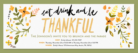 This Free Thanksgiving Invitation from Evite makes organizing your holiday dinner a breeze.