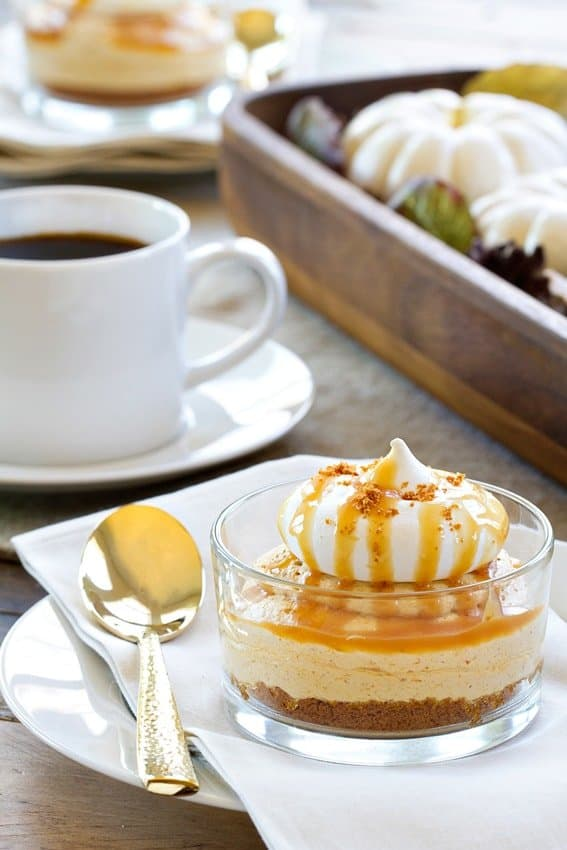 No-Bake Pumpkin Cheesecake has a salted caramel sauce drizzled right on top. Salty, sweet, and amazing.