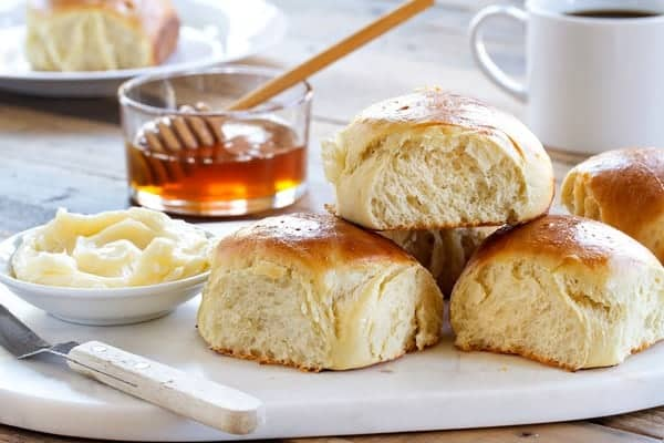 Potato Rolls are great any time of day. Spread with butter and and your favorite jelly.