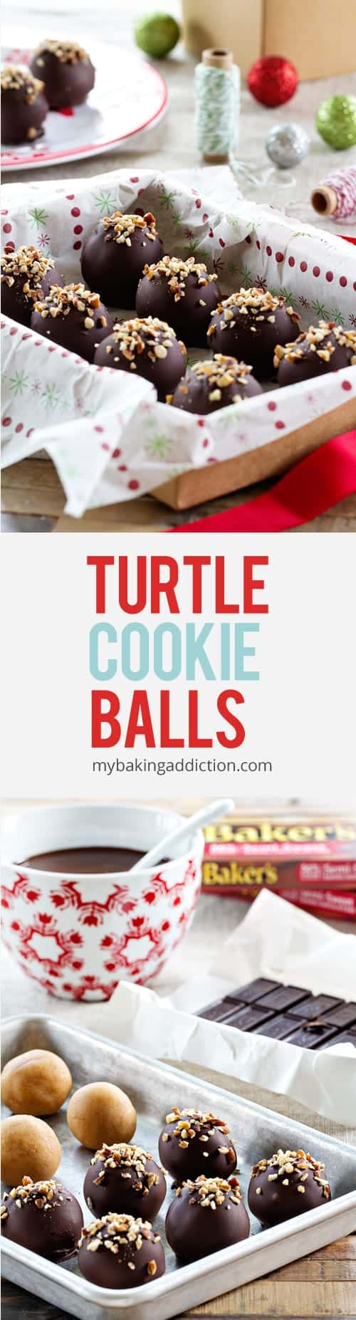 Turtle Cookies Balls have only five ingredients and three steps. So perfect for the holidays!