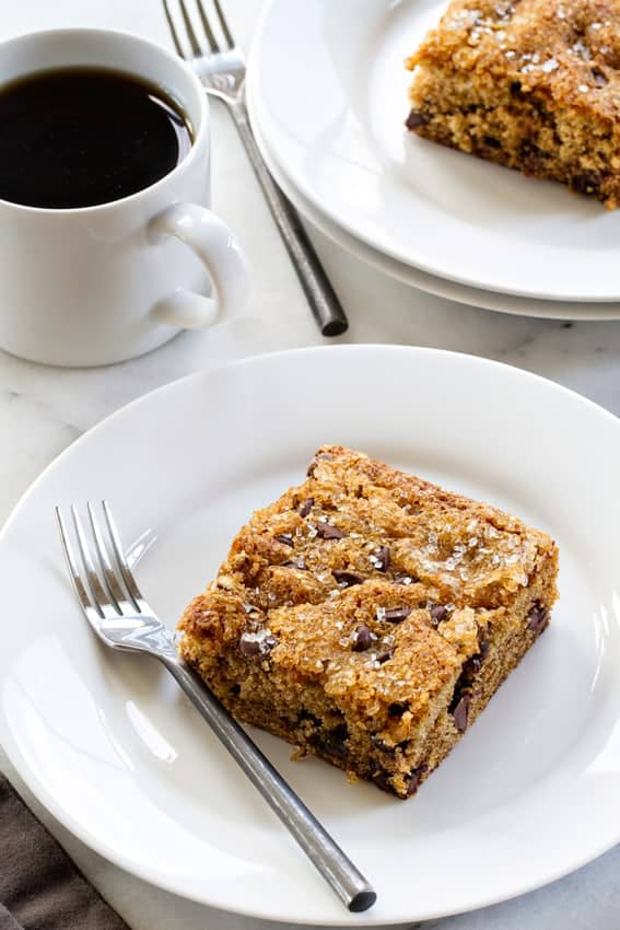 Date Cake is loaded with sweet chocolate chips and crunchy walnuts. The dates make it super moist - especially after it's covered and sits for a day.