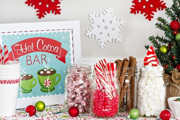 DIY Hot Cocoa Bar - a fun and yummy station for holiday parties! Don't forget the mini marshmallows!