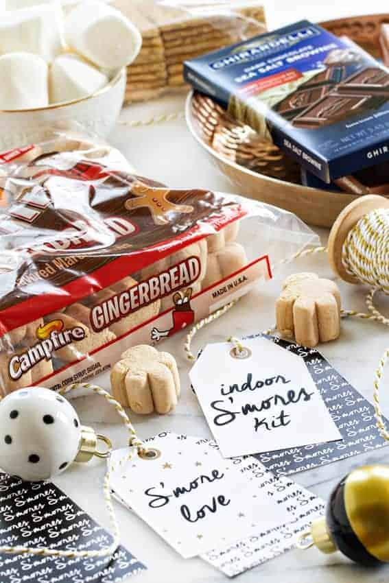 An Indoor S'mores Kit is the perfect last minute gift for anyone on your list!  An adorable, printable tag will make your gift really stand out! So much fun!