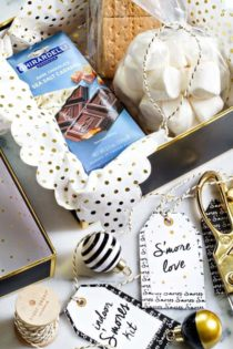 An Indoor S'mores Kit is the perfect last minute gift for coworkers, neighbors, and teachers. A cute, printable tag will make your gift really stand out! So festive!
