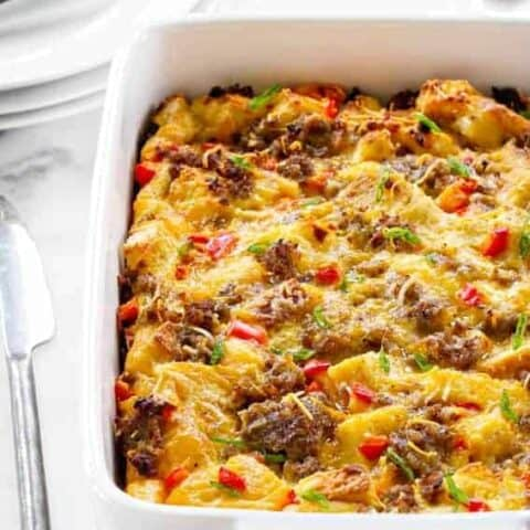Make-Ahead Breakfast Casserole is loaded with sausage, cheese, bread, and eggs. Assemble it the night before for an easy, delicious breakfast in no time!