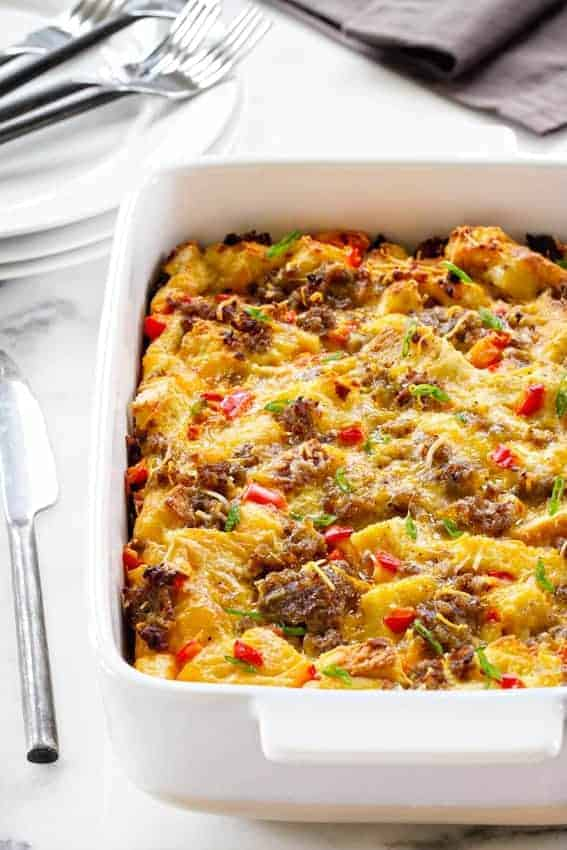 Make ahead breakfast casserole my baking addiction make ahead breakfast casserole is loaded with sausage cheese bread and eggs ccuart Gallery