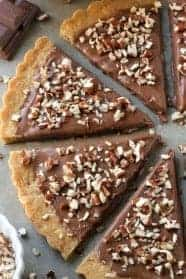Gluten-Free Shortbread is drenched in chocolate and sprinkled with nuts. Easy and delicious. All-purpose flour option included.