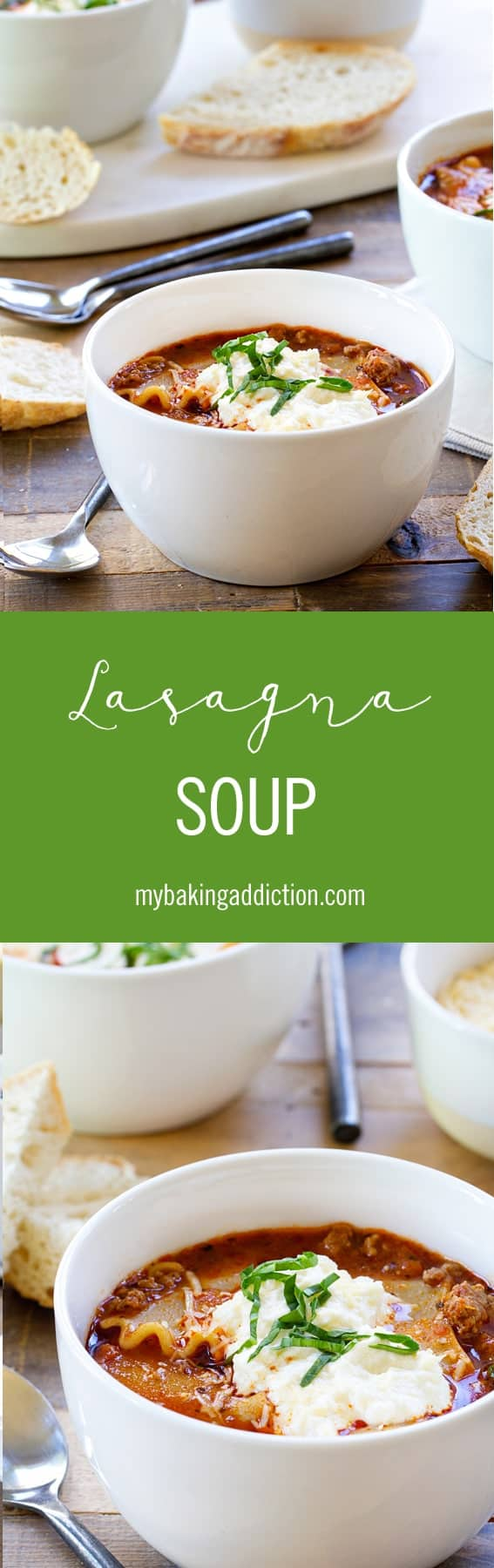 Lasagna soup is loaded with all the familiar flavors of lasagna in soup form. It's hearty, delicious, and sure to become a family favorite.