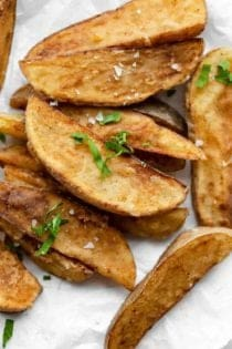 Close up of Jo Jo Potato Wedges, ready to serve