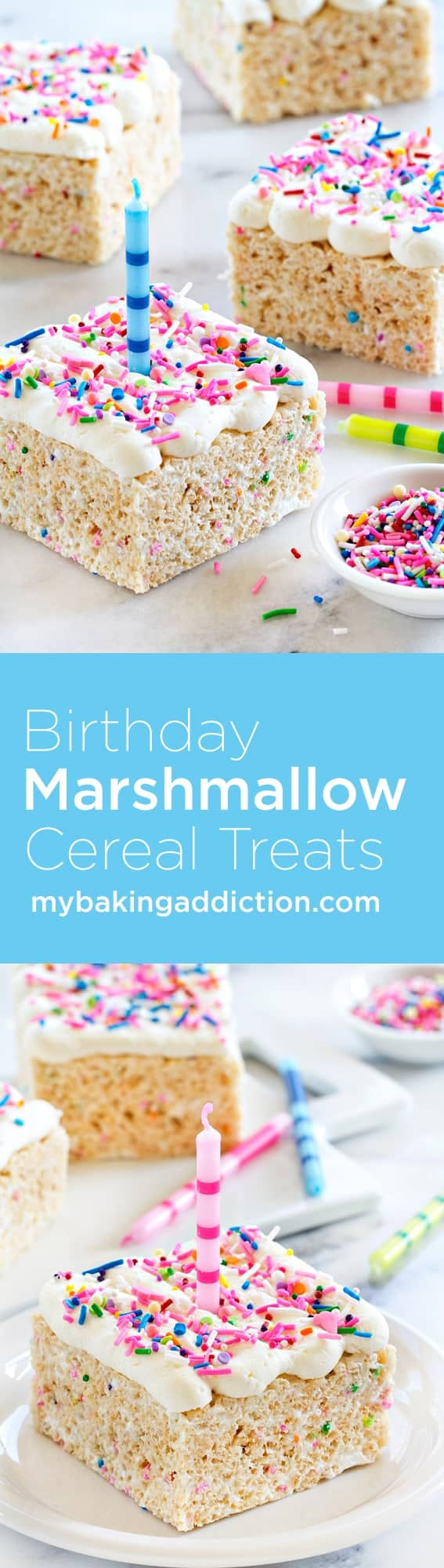 Birthday Marshmallow Cereal Treats are topped with buttercream frosting and loaded with sprinkles. So perfect for any celebration!