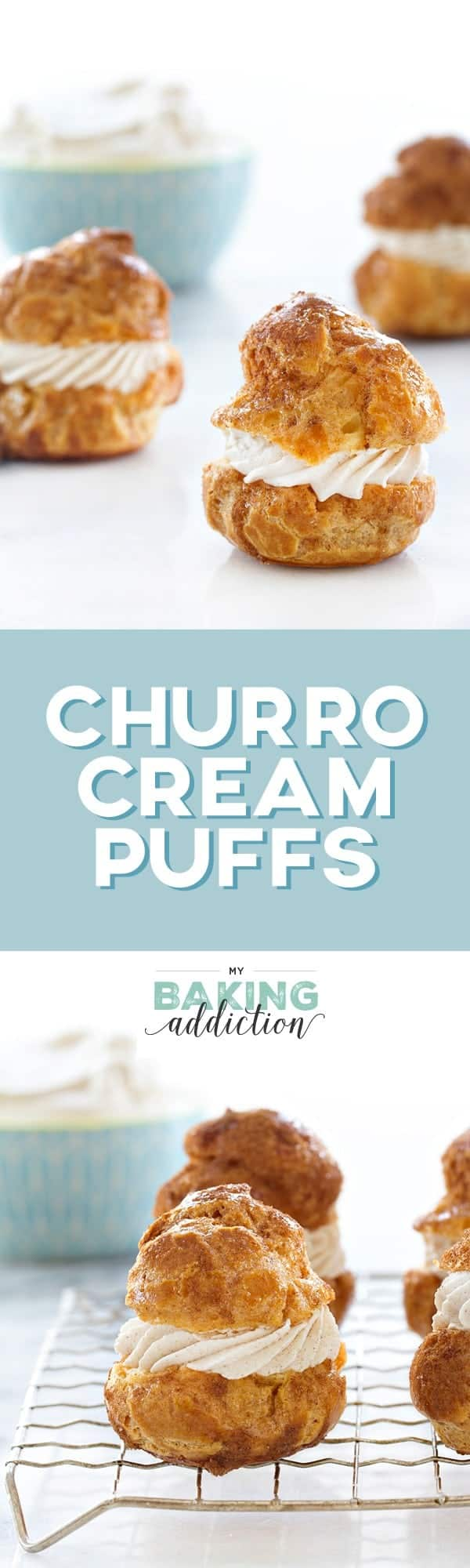 Churro Cream Puffs are filled cinnamon and sugar sweetness you'll crave. The cinnamon whipped cream takes them over the top. A must-make!