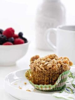 Olive Oil Banana Walnut Muffins are delicious way to start your day. The crunchy crumb topping makes the extra special!