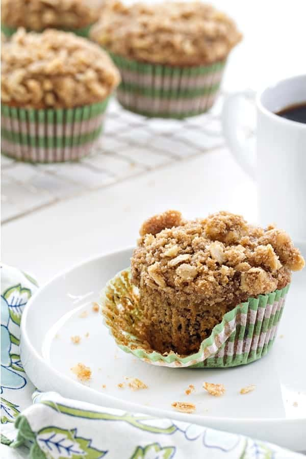 Olive Oil Banana Walnut Muffins are a light and sweet start to any day. Walnuts add a crunch that makes them a little more special!