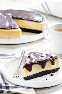 Baileys Irish Cream Cheesecake has the smooth taste of Baileys infused all the way through. The cheesecake and ganache are outstanding.