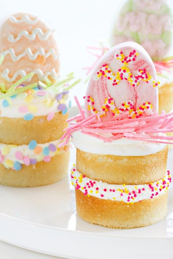 Mini Vanilla Bean Cakes couldn't be a more special dessert. You will love the sprinkles and egg marshmallow!