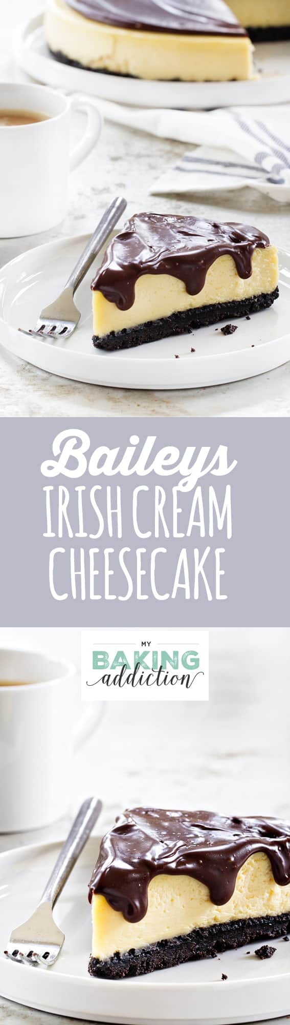 Baileys Irish Cream Cheesecake has a delightful chocolate cookie crust topped with Baileys spiked cheesecake and ganache layers. So good!