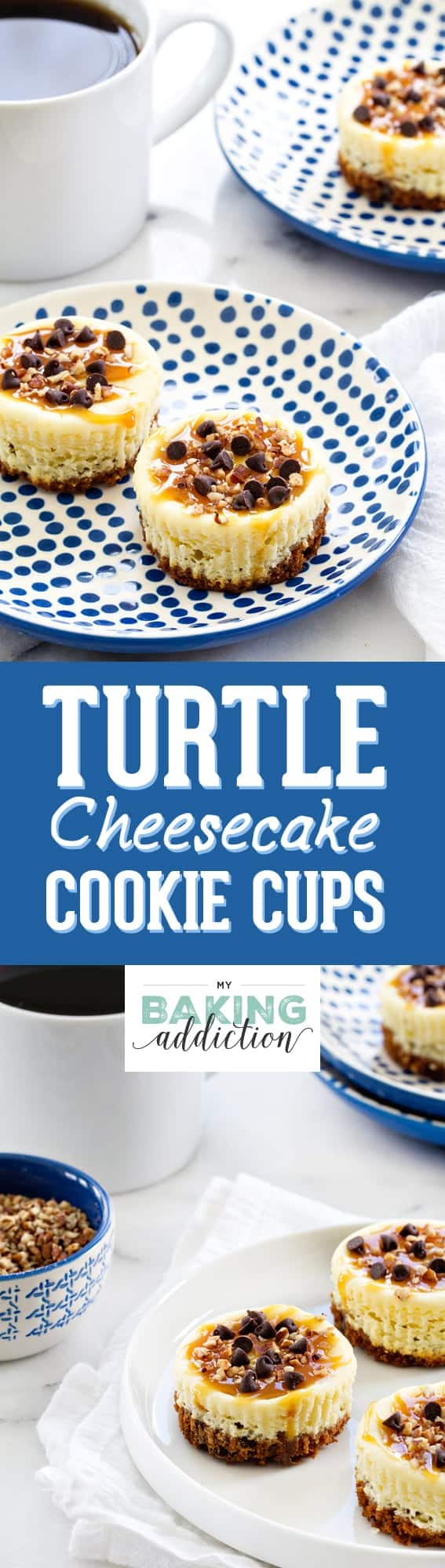 Turtle Cheesecake Cookie Cups are completely indulgent treats. And since they're mini, you can have a few!