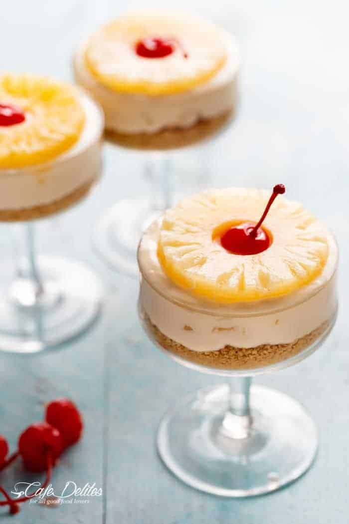 No-Bake Pineapple Cheesecakes are fun to make and are a refreshing twist on the traditional Pineapple Upside Down Cake, merging two favourites in one delicious dessert!