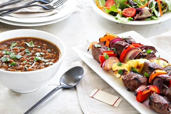 Sweet and Spicy Beef Kebabs are the perfect grilling recipe for summer. Serve them along with baked beans and a fresh salad to create a delicious and easy dinner.