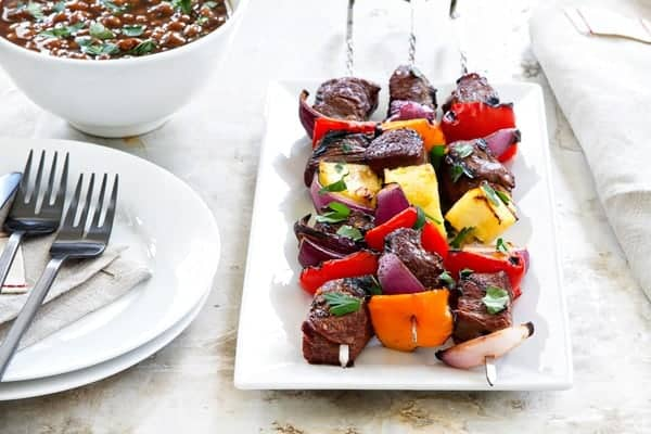 Sweet and Spicy Beef Kebabs are simple and delicious. Loaded with sweet and spicy flavors, they're sure to be your go-to dinner for grilling season!