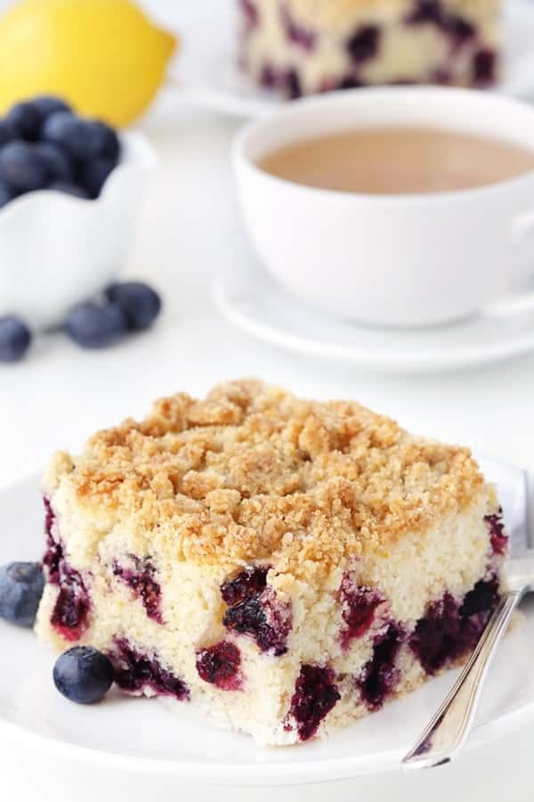 Blueberry coffee cake with streusel topping tastes just like a delicious blueberry muffin. Recipe contains a gluten-free option.