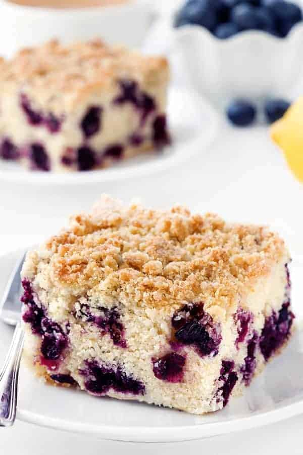 Blueberry coffee cake with a delicious streusel topping tastes just like a bakery-style blueberry muffin. Recipe contains a gluten-free option.