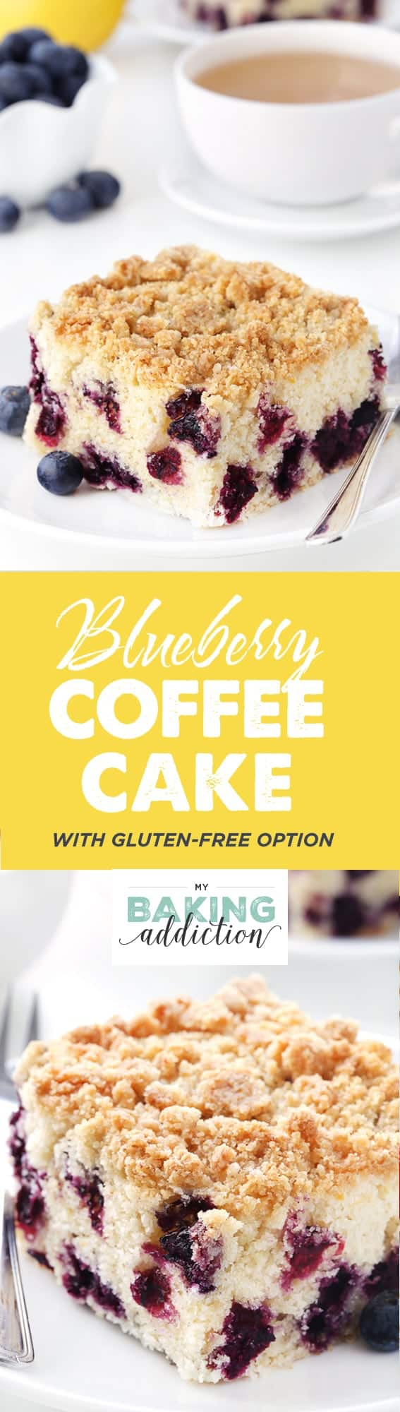 This Blueberry coffee cake with streusel topping tastes just like a delicious blueberry muffin. Recipe contains a gluten-free option.