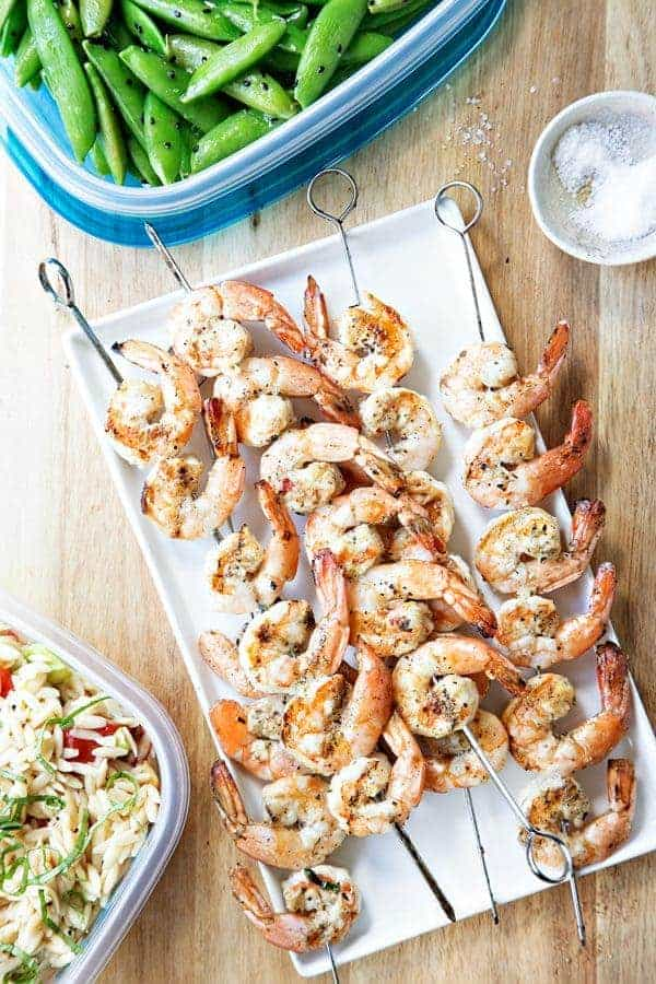 Grilled Garlic Basil Shrimp is fantastic for a party or a romantic evening in. Great for summer or any time of year!