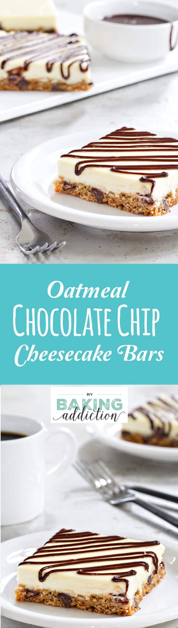 This Oatmeal Chocolate Chip Cheesecake Bars recipe is super simple to throw together and sure to be a huge hit for just about any occasion!