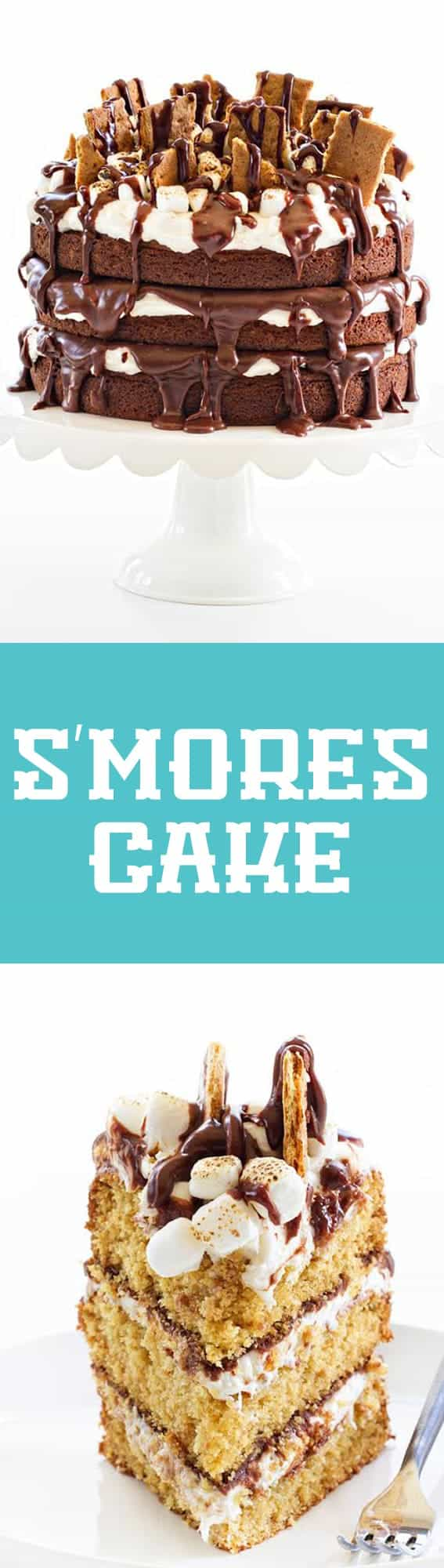 S'mores Cake is every bit as delicious as it sounds. Layers of toasted marshmallow buttercream and silky ganache make this cake absolutely perfect!