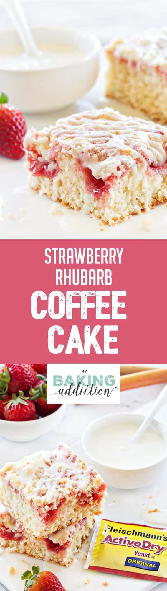 Strawberry Rhubarb Coffee Cake will be your Spring season's delight. Sweet and tart in every bite!
