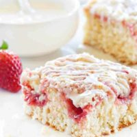 Strawberry Rhubarb Coffee Cake is filled with beautiful bites of sweetness in the cake and on top. Total heaven!