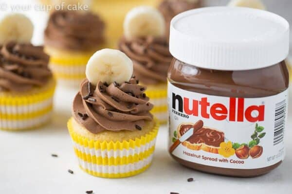 Banana Nutella Cupcakes are so good, you'll make them again and again. Gorgeous!