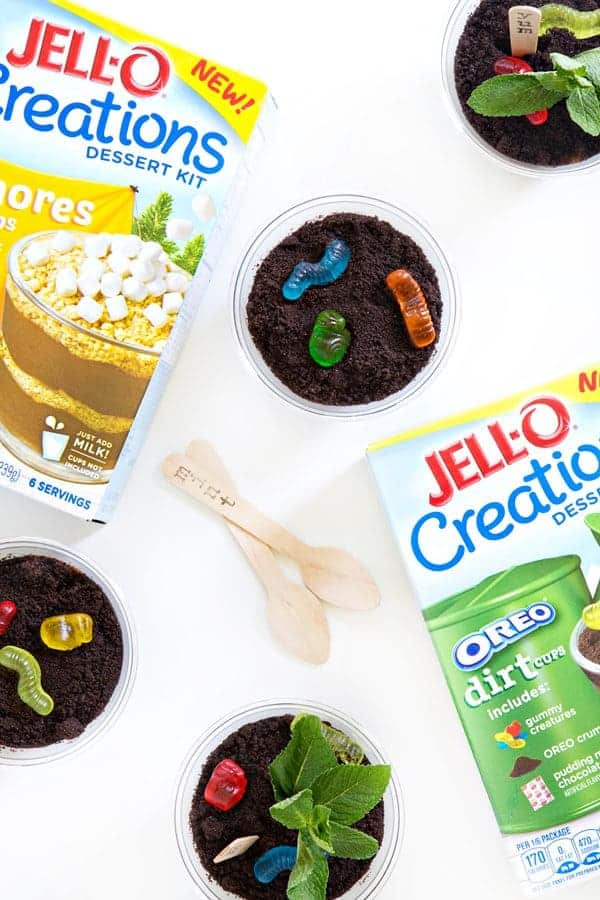 Jell-o Creations Dirt Pudding is so fun and easy! Everything you need is in one box - except the cups! The pudding mix, the cookie crumbs, and even the gummies!