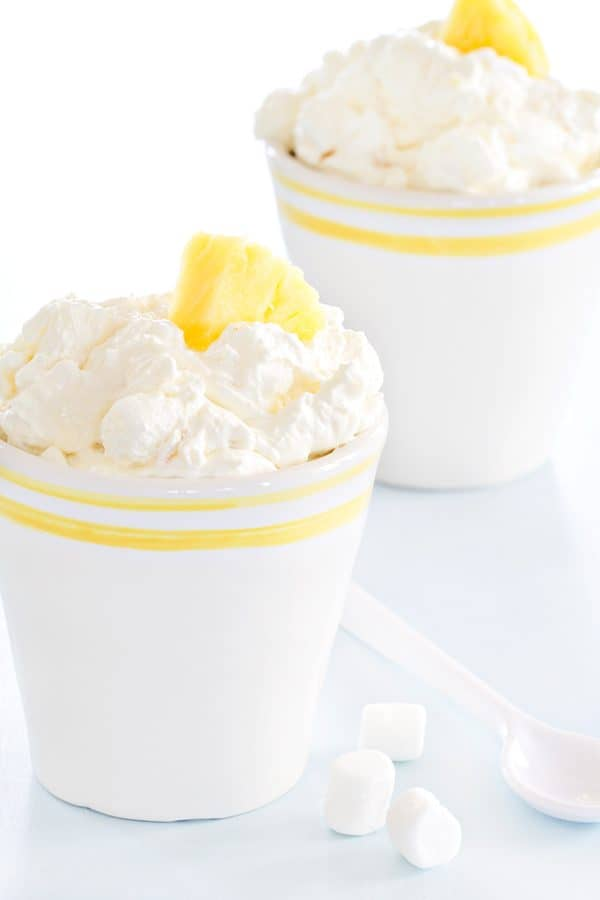 Pineapple Fluff tastes like a bite of joyful sunshine. The brightness and creamy texture will bring smiles to everyone!