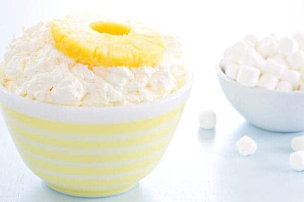 Pineapple Fluff is made with pineapple Jello mix and crushed pineapple. So easy and amazing!