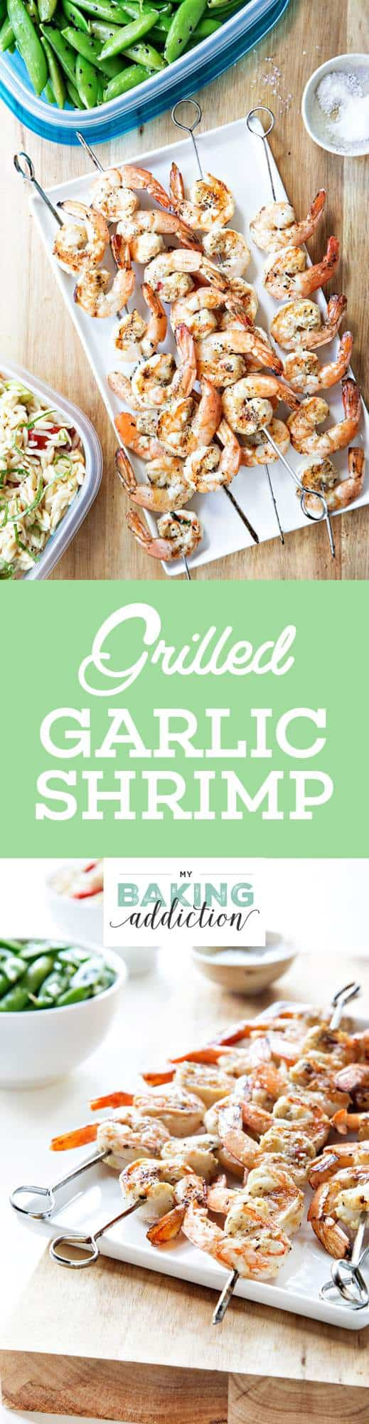 Grilled Garlic Basil Shrimp has a simple marinade of garlic, herbs, olive oil, and white wine. So easy!