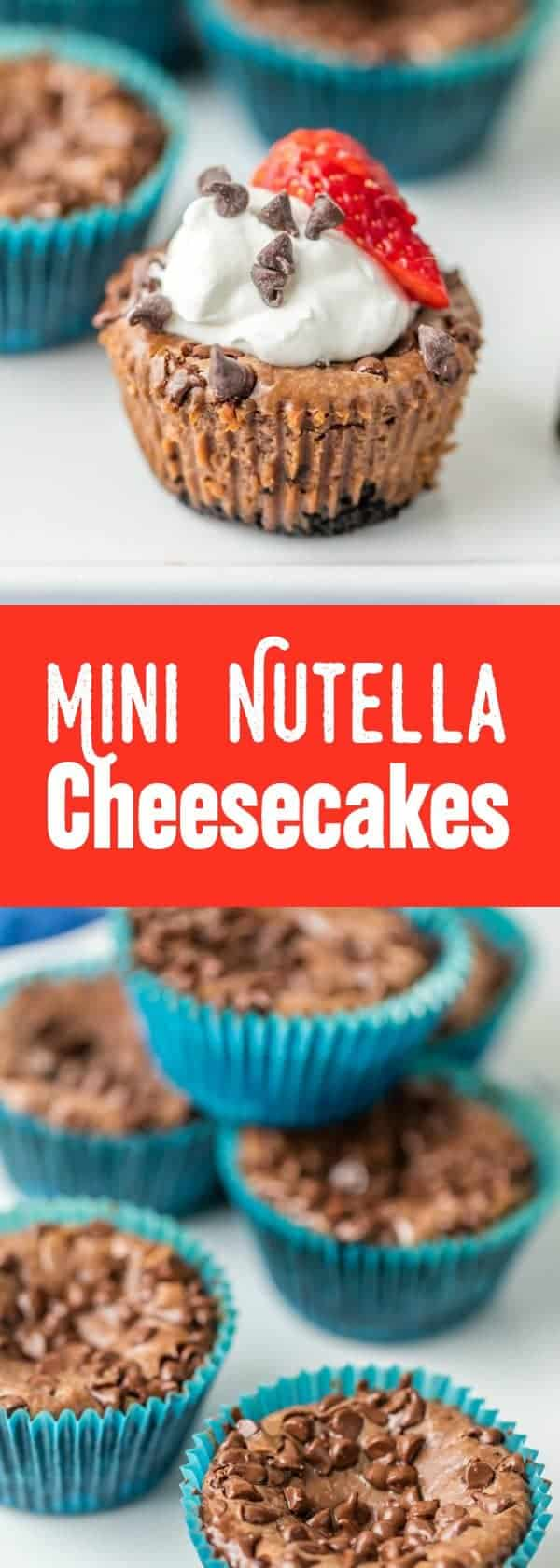 Mini Nutella Cheesecakes are the perfect easy dessert for any occasion. Top them with whipped cream and fresh berries for a swoon-worthy dessert!