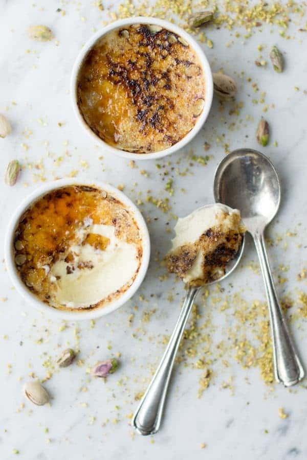 Pistachio Creme Brulee would be a great dessert to wow your guests. Creamy and perfect.