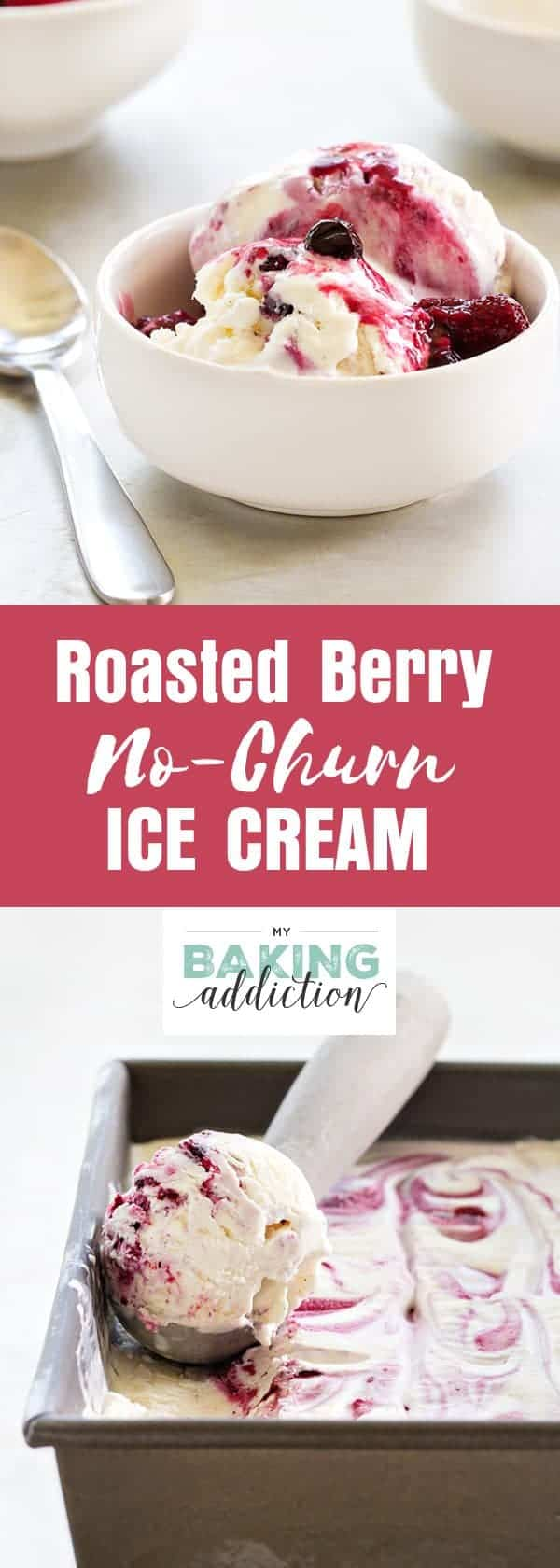 No-Churn Roasted Berry Ice Cream is full of sweet spring berry flavor. The little flecks of vanilla make it extra special. So perfect for summer!