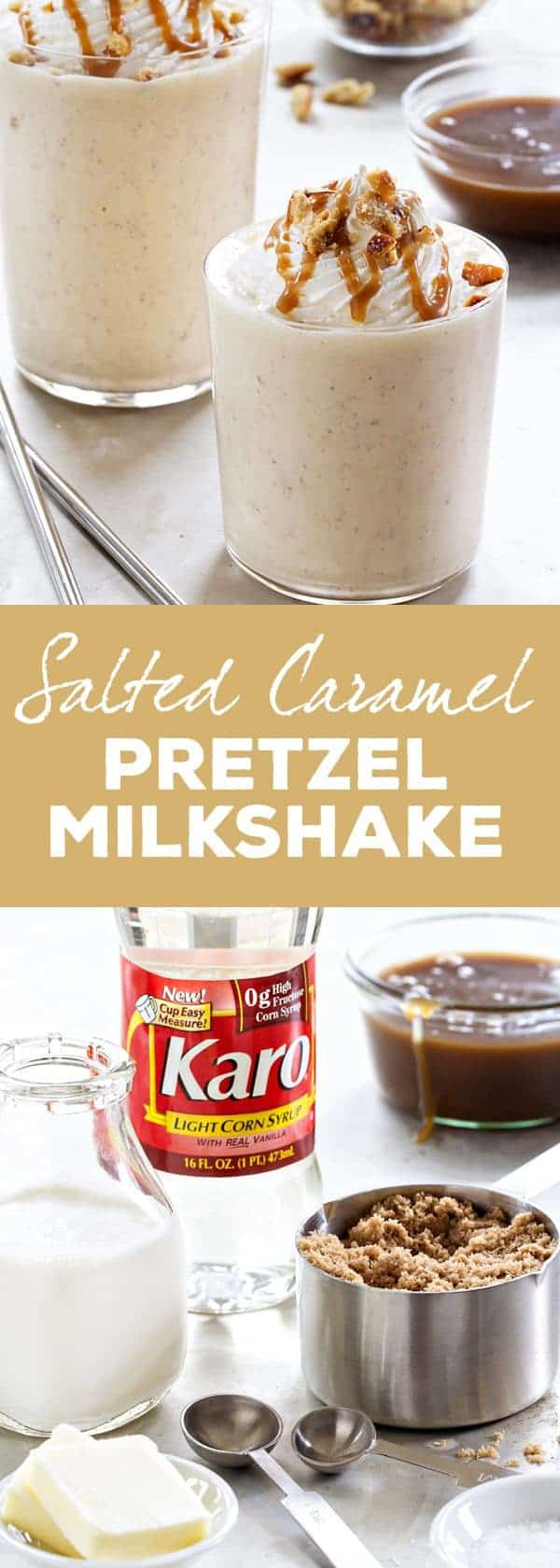 A Salted Caramel Pretzel Milkshake to cool you off and sweeten you up! This delicious dessert whips up quickly for a crowd, making it perfect for barbecues or a Memorial Day party. So delish!