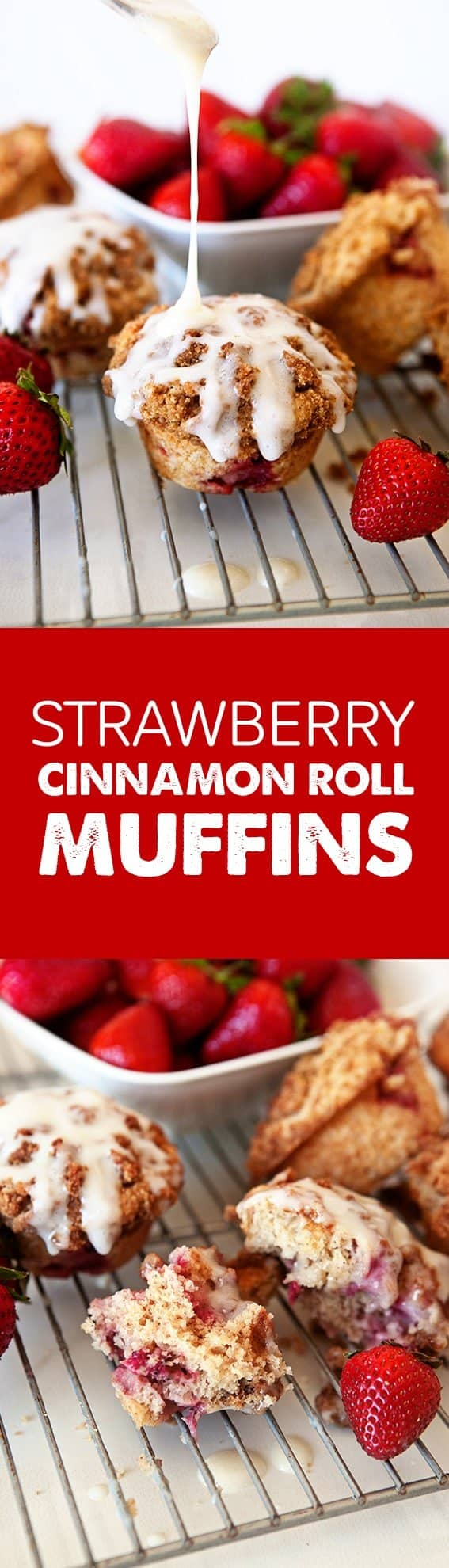 Strawberry Cinnamon Roll Muffins will make your Spring breakfast complete. Your morning couldn't get any better!