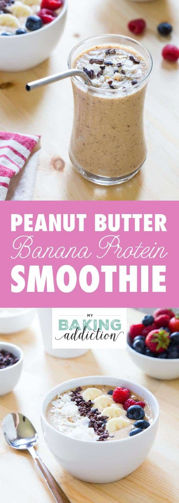 This Peanut Butter Banana Protein Smoothie is loaded with good for you ingredients! Perfect for busy mornings!