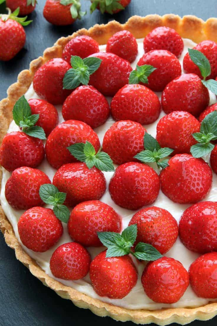 Strawberry Cream Cheese Tart with a thick layer of cream cheese filling and an easy press-in crust. With a gluten-free option.