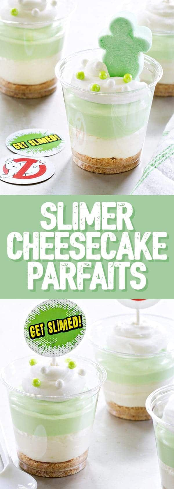 Slimer Cheesecake Parfaits are layered with vanilla cookies, marshmallow cheesecake filling and pistachio pudding. They're sure to be a hit for the Ghostbusters™ lover in your life!