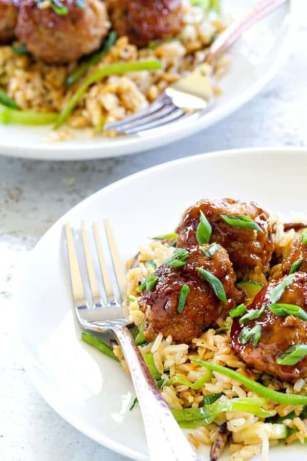 Soy-Ginger Meatballs with Zucchini and Snow Pea Fried Rice makes an ...