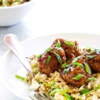Soy-Ginger Meatballs with Fried Rice