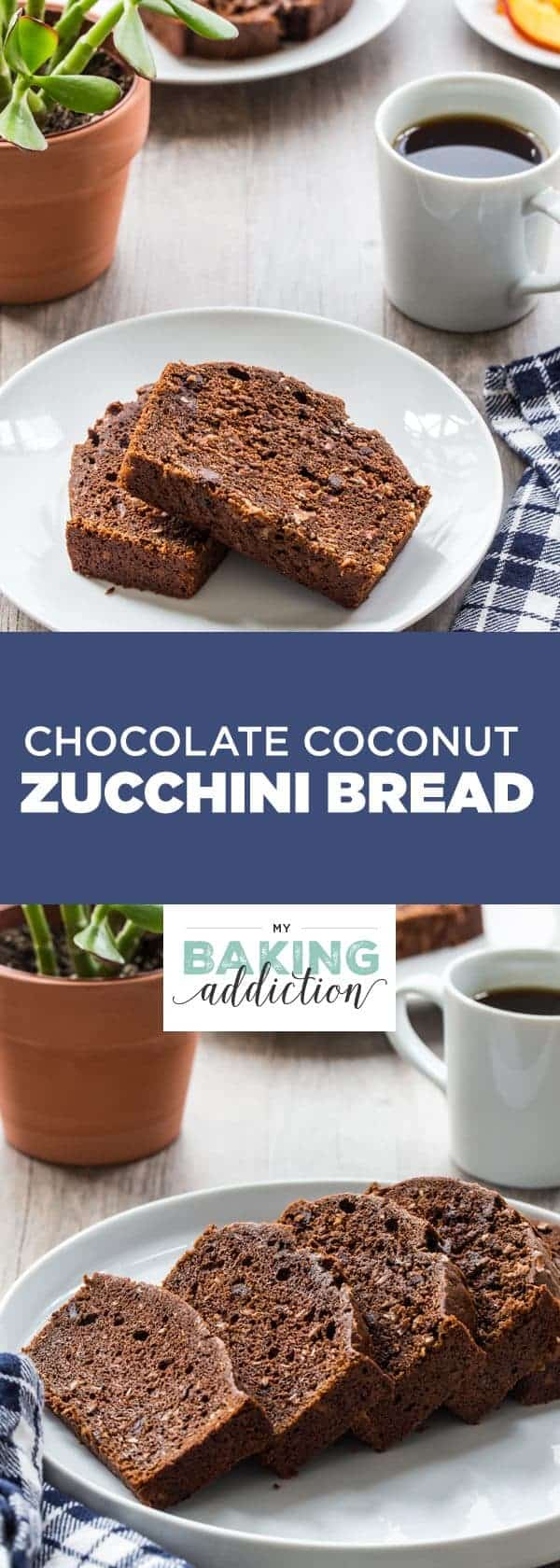 Chocolate Coconut Zucchini Bread has a perfect texture from the zucchini. The chocolate and coconut add an amazing richness. You'll make this one again and again!